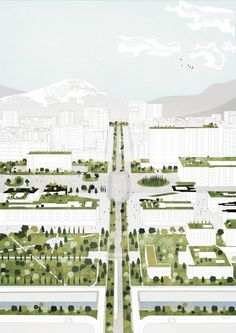 Image 3 of 21 from gallery of Tirana Watch How Nature and Urbanism Will Co-Exist in the Albanian Capital. Aerial view of the city centre masterplan. Image Courtesy of Attu Studio Villa Architecture, Architecture Collage, Architecture Graphics, Architecture Drawings, Masterplan Architecture, Architecture Diagrams, Architecture Portfolio, Landscape And Urbanism, Landscape Architecture