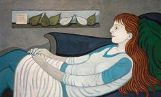 margot sandeman(1922–2009), anna contemplating 'pear'. oil on collage, 116 x 71 cm. national galleries of scotland, uk http://www.bbc.co.uk/arts/yourpaintings/paintings/anna-contemplating-pear-211700