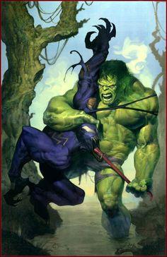 Hulk (Dr. Bruce Banner) (Savage Hulk persona) vs. Venom (Edward Brock) | art by Ariel Olivetti