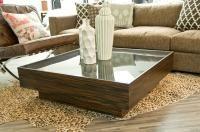 Macassar / Smoke glass Floating Box coffee table. 40x40. $995
