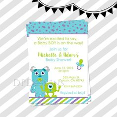 Monsters Inc Baby Shower Invitation Card Personalized D5 Shower