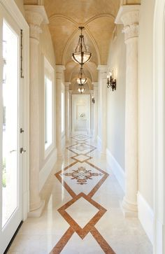 10 Floor Design Of Marble Floor Design Of Marble - This is a unique floor design just trying to figure out if I bookmatch marble flooring design for home decoration Panda 9 Pro. Foyer Flooring, Unique Flooring, Hall Interior Design, Home Interior, Interior Columns, Interior Door, Decoration Inspiration, Decoration Design, Decor Ideas