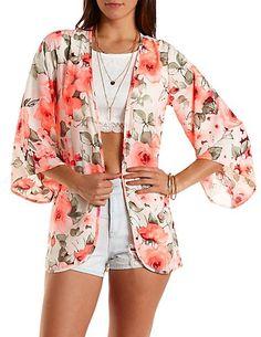 Neon Floral Print Kimono: Charlotte Russe #floral #kimono #neon #pink
