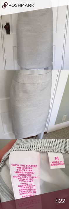 Nine and Co white skirt Knee length pencil skirt is white with very thin black and gray stripes. Gives the skirt a slightly shiny appearance. Comfortable with white lining. Excellent for professional work settings. Nine West Skirts Pencil