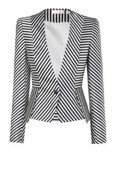 GREAT EXPECTATIONS - sharp shouldered, tailored jacket in a lush jacquard print with multi direction stripes creating chevron geometric patterns. jacket is clenched at the waist features single button closure at the front. model is wearing size Black And White Jacket, Black White, Striped Jacket, Striped Blazer, Tailored Jacket, Jackett, Mode Outfits, Work Attire, African Fashion