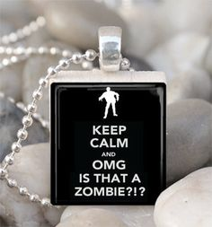 Scrabble Tile Pendant Keep Calm Zombie Pendant Zombie Necklace With Silver Ball Chain (A3006)