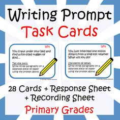 10+ Teacher Freebies including these Writing Prompt Task Cards for primary grades!