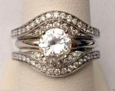 14kt White Gold Solitaire Enhancer Vintage Milgrain Diamonds Ring Guard Wrap (0.50ct. tw) by RG&D