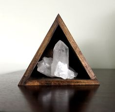handmade wood triangle shelf with quartz point cluster #crystals