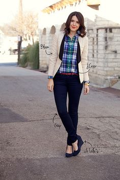 Plaid like my LE canvas. She also paired the top with a high waist skirt similar to my J. Crew one.