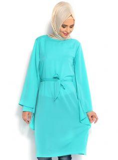 Pelerin Görünümlü Tunik - Mint - Topless Pelerin Görünümlü Tunik Modelleri  http://www.tesetturone.com/urun-kategori/tunik/ #tesettur #hijab #giyim #moda #kadın #tesettürgiyim
