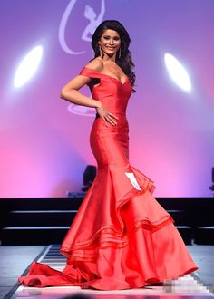 2016 Sexy Cheap Prom Dresses Miss USA Pageant Mermaid Red/Purple Deep V-neck Satin Long Formal Evening Party Gowns robes de bal