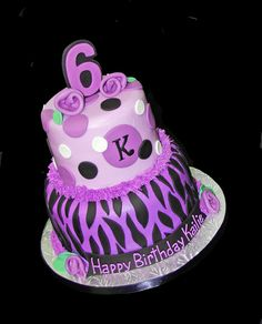 2 tier 6th birthday purple zebra cake by Simply Sweets, via Flickr