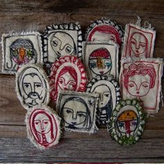 hand and machine stitched brooches
