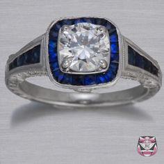 Certified Art Deco 1.12ct H/VS Diamond Engagement Ring