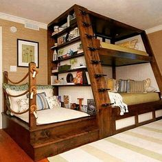 Awesome Space Saving Kids Bedroom Design Featuring Perfect Wooden Bunk Beds With Unique Black Metal Stairs And Bookshelves On The Left Side, Best Of Coolest Modern Kid Beds: Bedroom, Furniture, Interior, Kids Room Home, Cool Bunk Beds, Cool Beds, Bed Design, Bed, Furniture, House, Bunks, Awesome Bedrooms