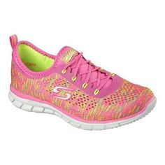 209039e12900 Women s Skechers Stretch Fit Glider Deep Space Bungee Lace Shoe Neon  Pink Yellow