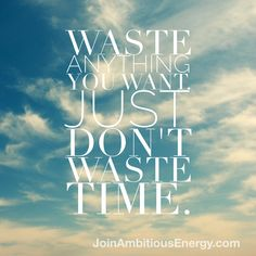 Time is the one commodity you cannot adore to waste. Get it back. www.joinambitiousenergy.com