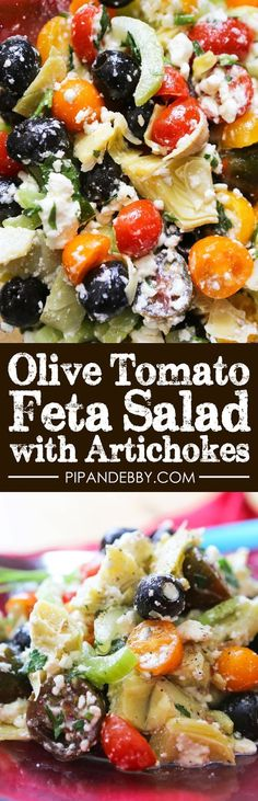 Olive Tomato Feta Salad with Artichokes | Summery, light and fresh salad to make as a side or for a party!