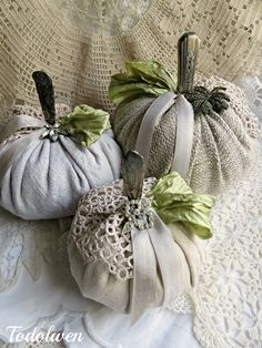 Pumpkins - made with drop cloth, drapery and muslin fabrics, with spoon/knife handle stems and decorated with crochet doilies, ribbons and brooches. Pumkin Decoration, Pumpkin Centerpieces, Decorations, Pumpkins For Sale, Fall Pumpkins, Velvet Pumpkins, Fabric Pumpkins, Diy Pumpkin, Pumpkin Crafts