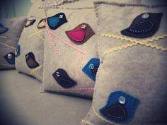 Felt cushion: Birds on a wire