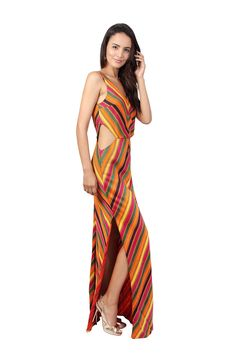 abacaxi Chevron Maxi Dress | GNOSSEM | Top Independent Designers | Free Shipping Worldwide