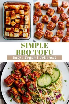 This BBQ Tofu is simple to make and PACKED with flavor! It can be baked or pan fried and both are delicious! Bbq Tofu, Kung Pao Chicken, A Food, Fries, Cooking Recipes, Vegetarian, Yummy Food, Restaurant, Vegan