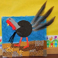 """2nd graders used fabric, feathers, wood, yarn, paper and paint to createthese """"Wild Turkey Collages"""""""