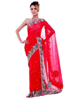 Red Georgette Saree With Blouse 91392