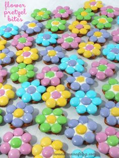 Our Flower Pretzel Bites are delicious and easy to make - the perfect bite-sized blend of sweet and salty. And what a great Easter Dessert. They would be a fantastic Easter Treat, Mother's Day Dessert or Baby Shower Snack. Follow us for more fun Easter Food Ideas.