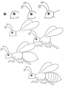 Step by Step Drawing Tutorials for Kids of All Ages - Learn to Draw Insects / How to Draw. Painting and Drawing for Kids / Luntiks. Children's Arts and Crafts Activities. Drawing and Poems Drawing Tutorials For Kids, Drawing For Kids, Art Tutorials, Art For Kids, Drawing Ideas, Bugs Drawing, Beetle Drawing, Painting & Drawing, Drawing Lessons