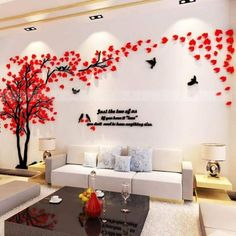 Hermione Baby Couple Tree Wall Murals for Living Room Bedroom Sofa Backdrop Tv Wall Background, Originality Stickers Gift, DIY Wall Decal Home Decor Art Decorations (Medium, Red) Diy Wall Decor, Diy Home Decor, Wall Decorations, Tree Wall Murals, Tree Decals, Tree Wall Art, Art Mural, Diy Décoration, Cool Walls