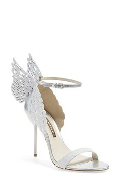 Free shipping and returns on Sophia Webster 'Evangeline' Ankle Strap Sandal (Women) at Nordstrom.com. Snowy white glitter softly dusts the laser-cut wings hovering atop the ankle of these angelic strappy sandals elevated by a slender cigarette heel.