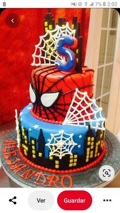 Spiderman Cake Topper, Spiderman Birthday Cake, Batman Cakes, Superhero Cake, Superhero Birthday Party, 5th Birthday, Novelty Birthday Cakes, Cool Birthday Cakes, Cupcake Cakes