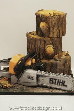 chainsaw logs cake