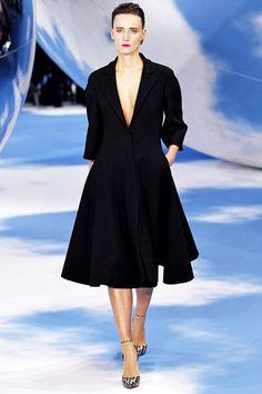 Dior Simple Chic Deep V A-Line Black Coat Dress.