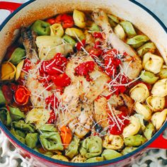 One Pot Roast Chicken and Tortellini - Made in New ALDI Kitchen Living Cast Iron Dutch Oven - Eat at Home Dutch Oven Cooking, Dutch Oven Recipes, Italian Recipes, Slow Cooker Recipes, Crockpot Recipes, Chicken Recipes, Cooking Recipes, Yummy Recipes, Eating Clean