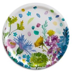 Bluebellgray Tetbury Large Round Tray - Inspired by the rainbow of blooms in HRH Prince of Wales' Wildflower Meadow, these signature florals inject a dose of feel good design into the home.  Tetbury brings a rainbow of watercolour wildflowers into the home in this beautifully hand-crafted birch wood tray by Åry.