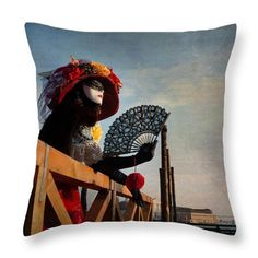 Venetian Carnival Throw Pillow, Venetian Carnival Seat Cushion,  Lady in Mask Pillow Cover, Lady in Mask Seat Cushion, Photo Art Home Deco