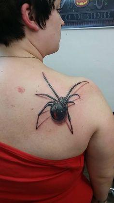 http://tattooideas247.com/spider-back-tattoo/ Spider Back Tattoo #3D, #Back, #Realistic, #Spider