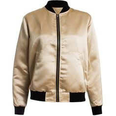 Sans Souci Gold metallic satin bomber jacket ($54) ❤ liked on Polyvore featuring outerwear, jackets, gold, bomber jacket, sans souci, bomber style jacket, flight jacket and metallic jacket