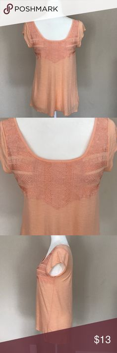 """NWOT - American Eagle Top NWOT - Perfect Condition Flowy Peach Colored Top - The Front is a Really Neat Design individuality threaded - The Back is slightly longer than the front - Measurements Approximate are - Length from Shoulder to Bottom Hem in front is 24"""" & back is 27"""" - Bust from Armpit to Armpit is 16"""" American Eagle Outfitters Tops Blouses"""