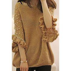Women's Beads Ruffle Midi Cape Sleeve Sweater