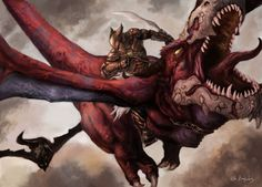 Dragon Rider by Fantasy Dragon, Fantasy Warrior, Fantasy Rpg, Dragon Art, Medieval Fantasy, Fantasy Creatures, Mythical Creatures, Dragon Pictures, Dragon Pics