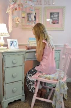 Cute girls room ideas. I LOVE the bird cage idea. (Studio 5 - Create a Shabby Chic Bedroom) @Carissa from {Carissa Miss} from {Carissa Miss} from {Carissa Miss} from {Carissa Miss} Seek  looks like Maya...I love the bird cage! I saw some at Hobby Lobby last week and they were 50%off. :) ~Misty
