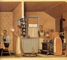The wildly undervalued artist Grant Wood so much more than American Gothic. 'Dinner for the Threshers' Harlem Renaissance, American Realism, American Artists, Bauhaus, Connecticut, Grant Wood Paintings, Art Paintings, Artist Grants, Oil Painting Pictures