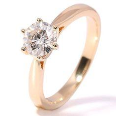 TransGems 1 Carat Lab Moissanite Diamond Solitaire Wedding Ring 14K Yellow Gold for Women (F Color) #solitaireweddingrings