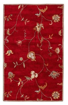 """Jaipur Living Alsace Hand-Tufted Floral & Leaves Red Area Rug (2'6"""" X 8')"""