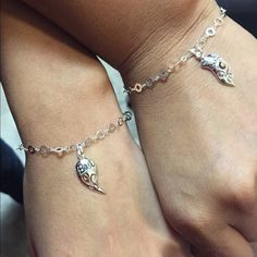 """'Best Friends' heart charm bracelets A heart divided by 2. One part says Best and the other Friend. Including 2 8"""" link bracelets. All Sterling silver. Jewelry Bracelets"""