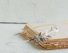 SILVER Headband Leaf Wedding Grecian Romantic Bridal Silver Branch Woodland Garden